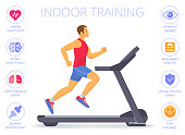 Strong caucasian man is running on the treadmill. Flat vector illustration of athletic adult boy in the sportswear doing exercises on the treadmill. Indoor fitness concept isolated on white.