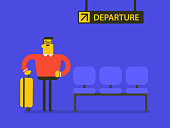 Young caucasian white man with his suitcase luggage waiting for the delay flight in departure lounge at the airport. Vector cartoon illustration.