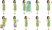 Young caucasian pregnant woman set. Pregnant woman suffering from contractions, looking in the mirror, breaking the cigarette. Set of vector flat design illustrations isolated on white background.