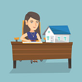 Young caucasian real estate agent sitting at the table with house model on it and signing a contract. Real estate agent signing a home purchase contract. Vector cartoon illustration. Square layout.