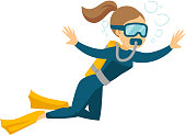 Young caucasian white woman in diving suit and fins swimming underwater with scuba. Woman enjoying the dive. Vector cartoon illustration isolated on white background. Horizontal layout.