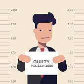 Caught guilty businessman or manager with ID signs on his hand. Concept dishonest business. Flat vector illustration in cartoon style