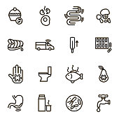 Causes of Diarrhea Black Thin Line Icon Set Include of Toilet, Intestine, Fever, Virus, Water and Bacteria. Vector illustration