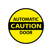 caution automatic door attention isolated sticker