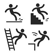 Caution symbols with stick figure man falling. Wet floor, tripping on stairs, fall down from ladder and over the edge. Workplace safety and injury vector illustration.