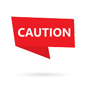 caution word on a speach bubble- vector illustration
