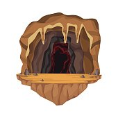 Cave interior scene in deep mountain vector illustration