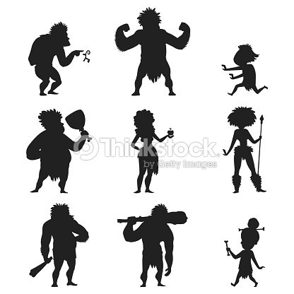 Caveman primitive stone age black silhouette people character evolution vector illustration