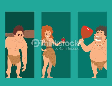 Caveman primitive stone age cartoon neanderthal people character evolution vector illustration