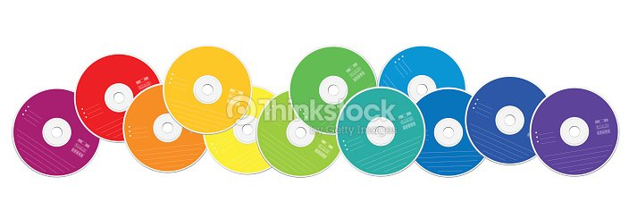 CDs - colored compact disc collection loosely arranged - isolated vector illustration on white background. : stock vector