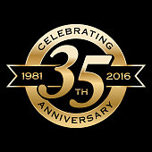 35th Years Anniversary Emblem. EPS 10 File and large jpg included.