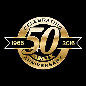 50th Years Anniversary Emblem. EPS 10 File and large jpg included.