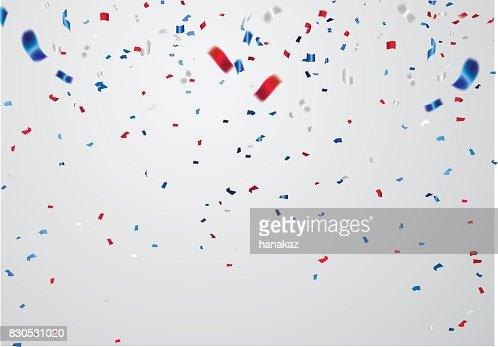 Modèle fond de célébration avec des rubans de confettis et de rouge et de bleu. : Clipart vectoriel