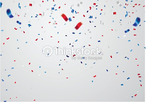 celebration background template with confetti and red and blue