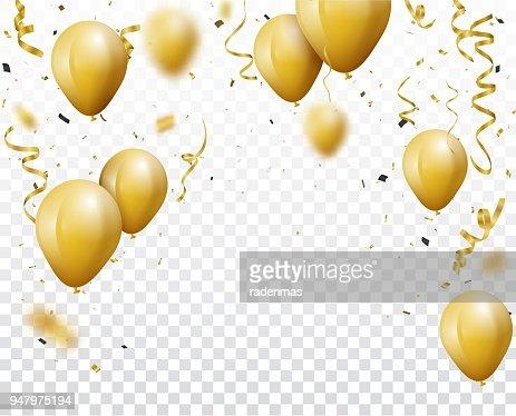 Fondo de celebración con globos y confeti de oro : Arte vectorial