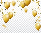 Vector Illustration of Celebration background with gold confetti and balloons  eps10