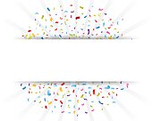 Vector Illustration of Celebration confetti with paper sign