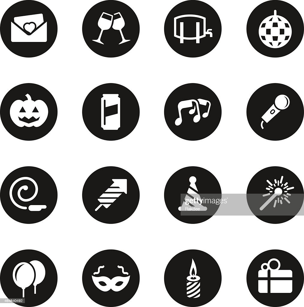 Celebration icons black circle series vector art getty images for Black circle vector