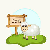 Poster, banner or invitation for Happy New Year with sheep standing near a wooden board of year 2015 on grey background.