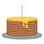 Vector image of a festive cake with a candle on a glass tray on a white background