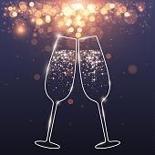 celebratory glasses background in vector