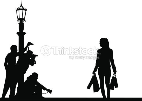 celebrity and paparazzi on the street silhouette vector art