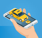 Female hand holds a mobile phone. Cellphone with taxi car. Isometric concept. Realistic vector illustration.