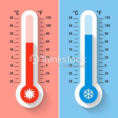 celsius and fahrenheit thermometers vector art thinkstock