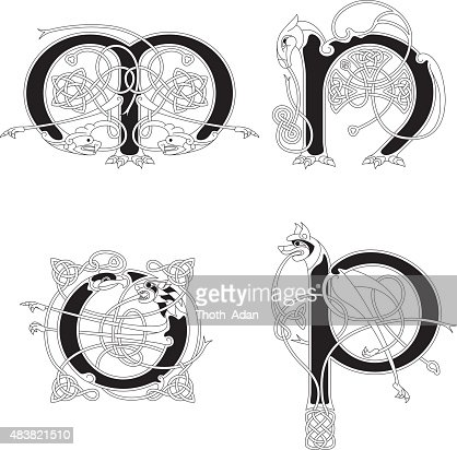 Celtic Animal Initials Letters M N O And P Vector Art
