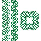 Vector set of traditional Celtic symbols, knots, braids in green isolated on white