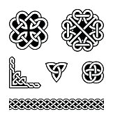 Set of traditional Celtic symbols, knots, braids in black and white