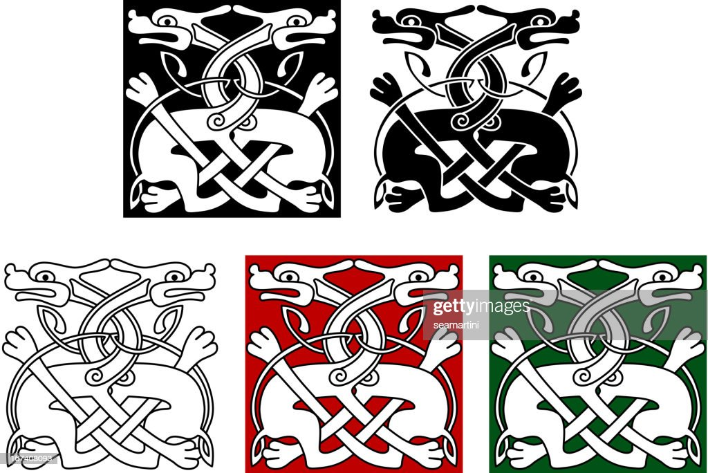 Celtic ornament with wild dogs : Vector Art