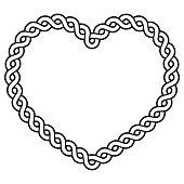 Irish, Celtic black heart pattern  isolated on white