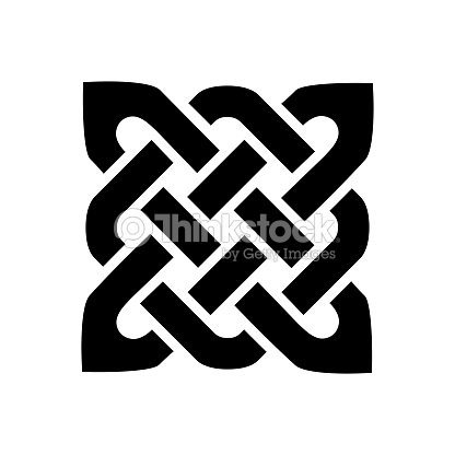 Celtic Style Square Shape Element Based On Eternity Knot Patterns In