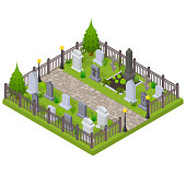 Cemetery Concept 3d Isometric View Element of Map with Grave, Cross and Gravestone. Vector illustration of Graveyard and Tomb