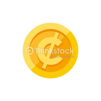Cent Or Centavo Currency Symbol On Gold Coin Flat Style Vector Art