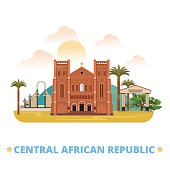 CAR Central African Republic country flat cartoon style historic sight vector illustration. World vacation travel Africa collection. Notre-Dame Cathedral Immaculate Conception Place de la Republique.