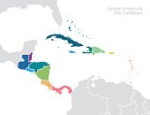 Central America and the Caribbean map. Vector