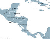 Central America countries political map with national borders, from Mexico to Colombia, connecting North and South America, Caribbean Sea to the east and Pacific Ocean to the west. English labeling.
