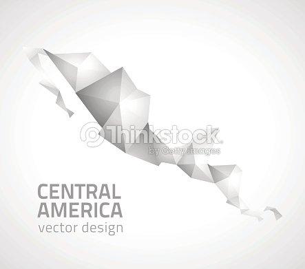Central America Grey Vector Polygonal Map Vector Art | Thinkstock