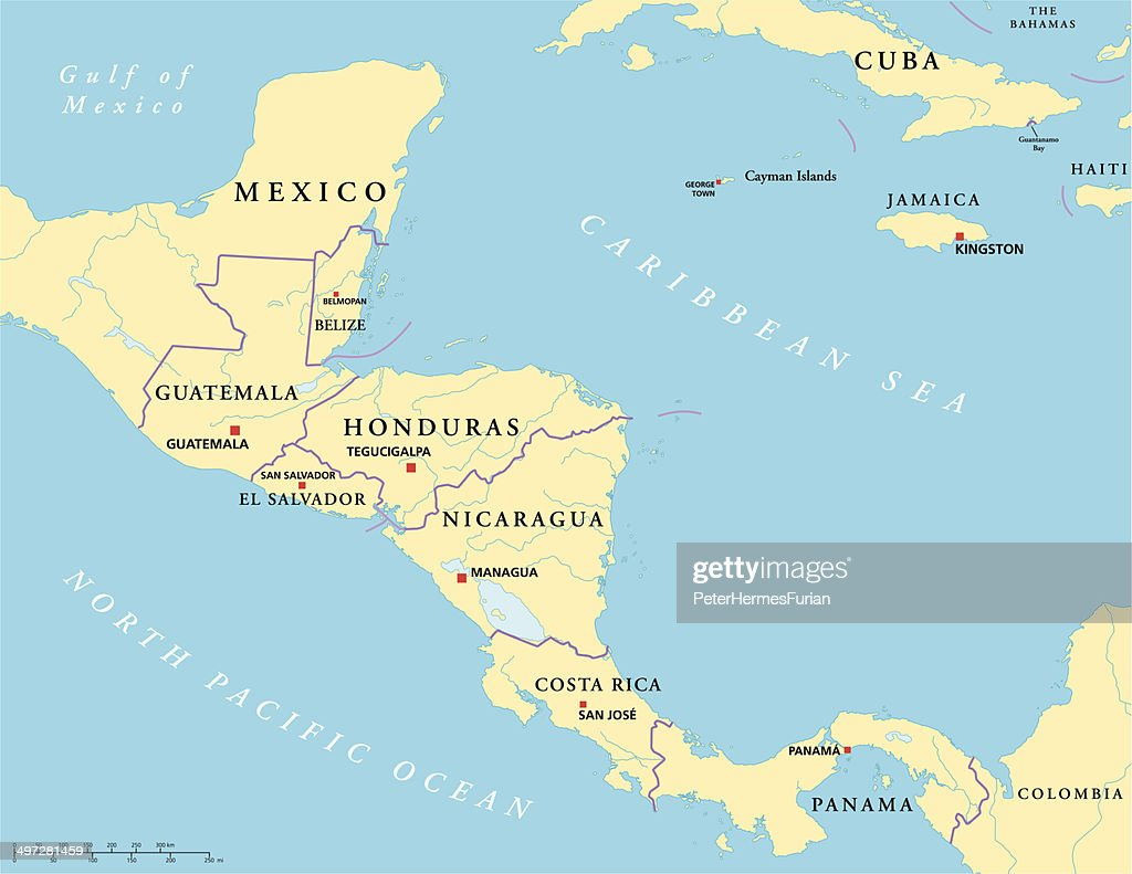 Central America Political Map Vector Art Thinkstock
