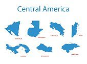 central america - vector maps of territories
