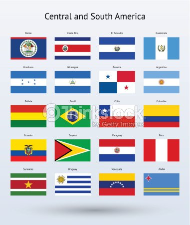 Central and south america flags collection vector art for What color is south america