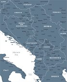 Central Balkan Map - Detailed Vector Illustration