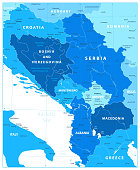 Central Balkan Region Map in Colors Of Blue. Vector illustration.