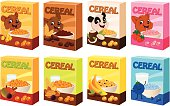 Vector illustration of various cereal boxes with cute mascots.