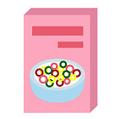 cereal flat illustration on white background. Home and lifestyle series.