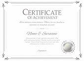 Certificate design template. Retro certificate, diploma design template. Vector