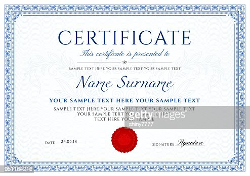 Certificate, Diploma of completion (design template, white background) with blue Frame, Border, : stock vector