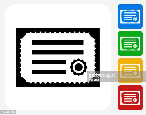 Zertifikat-Symbol flache Grafik Design